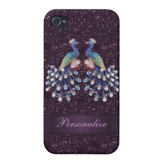 Elegant Peacock Jewels & Purple Glitter Print Cases For iPhone 4