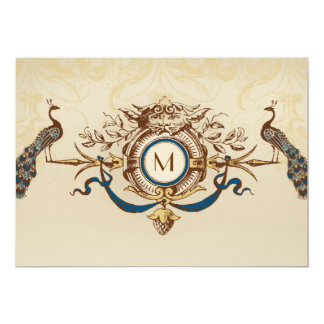 Elegant Peacock Monogram Vintage Wedding Invites