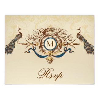 Elegant Peacock Monogram Vintage Wedding RSVP Card
