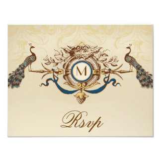 Elegant Peacock Monogram Vintage Wedding RSVP Card 11 Cm X 14 Cm Invitation Card