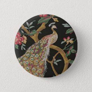 Elegant Peacock On Black Button