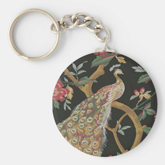 Elegant Peacock On Black Key Chain
