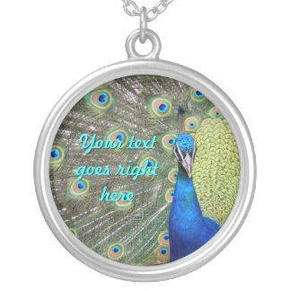 Elegant Peacock Photograph Silver Plated Necklace