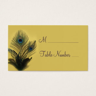 Elegant Peacock Place Card (yellow)