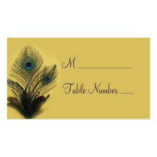 Elegant Peacock Place Card (yellow) Pack Of Standard Business Cards