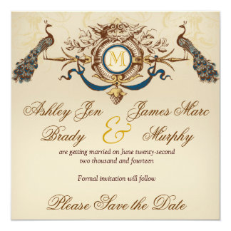 Elegant Peacock Save the Date Cards 13 Cm X 13 Cm Square Invitation Card