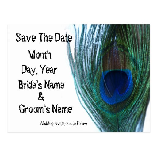 Elegant Peacock Save the Date Postcards