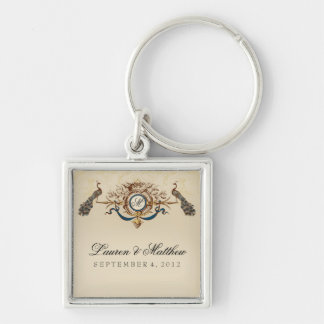Elegant Peacock theme Silver-Colored Square Key Ring