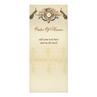 Elegant Peacock Wedding Ceremony Programs 4x9.25 Paper Invitation Card