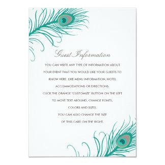 Elegant Peacock Wedding Insert 11 Cm X 16 Cm Invitation Card