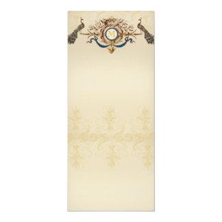 Elegant peacock wedding menus 10 cm x 24 cm invitation card