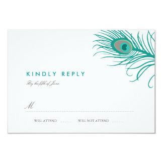 Elegant Peacock Wedding RSVP 9 Cm X 13 Cm Invitation Card