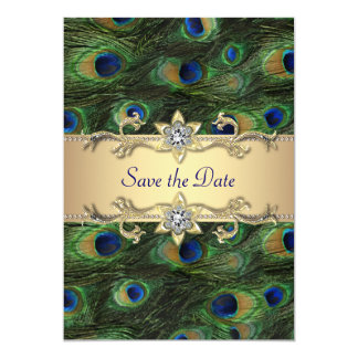 Elegant Peacock Wedding Save The Date 13 Cm X 18 Cm Invitation Card
