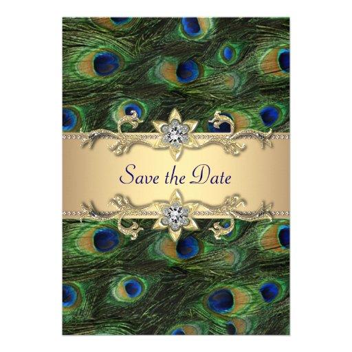 Elegant Peacock Wedding Save The Date Invite