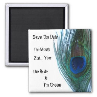 Elegant Peacock Wedding Square Magnet