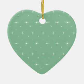 Elegant Peapod Color. Mint Green And Bright Stars Christmas Ornaments