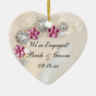 Elegant Pearl and Pink Diamond Button Engagement Christmas Ornament