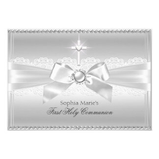 Elegant Pearl Bow & Cross First Holy Communion 9 Cm X 13 Cm Invitation Card
