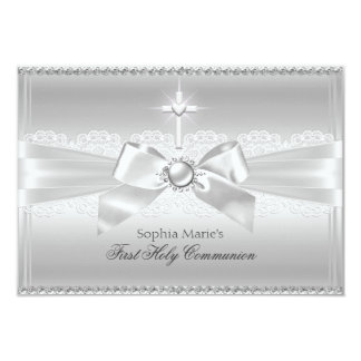 Elegant Pearl Bow & Cross First Holy Communion Personalized Invitation