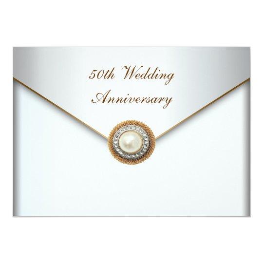 Elegant Pearl Gold 50th Wedding Anniversary Card