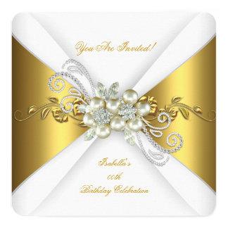 Elegant Pearl Gold Silver Diamond Birthday Party A 13 Cm X 13 Cm Square Invitation Card