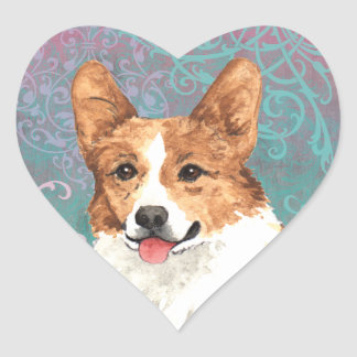 Elegant Pembroke Welsh Corgi Heart Sticker