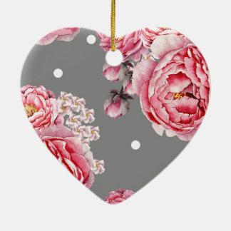 Elegant Peonies Floral Ceramic Heart Decoration