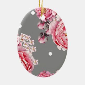 Elegant Peonies Floral Ceramic Oval Decoration