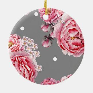 Elegant Peonies Floral Round Ceramic Decoration