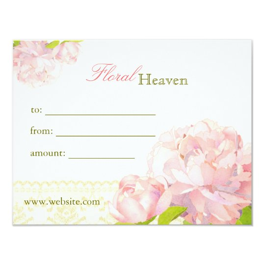 Elegant Peony Floral Business Gift Certificate Card
