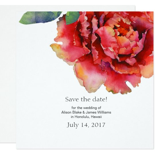 Elegant peony wedding save the date card