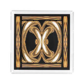 Elegant Perfume Tray on Black/White/Gold