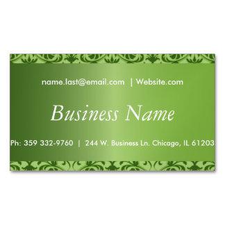 Elegant Peridot Green Damask Magnetic Business Cards
