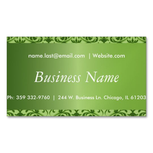 Elegant Peridot Green Damask Magnetic Business Card
