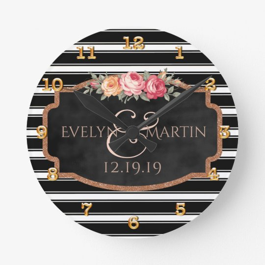 Elegant Personalised Black Rose Gold Wedding Round Clock