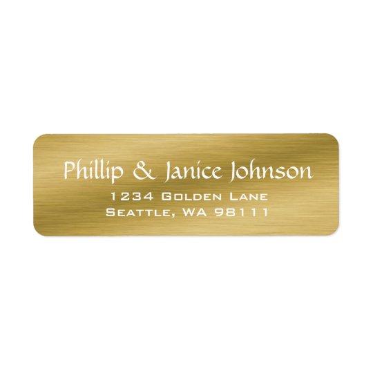 Elegant Personalised Brushed Gold Return Labels