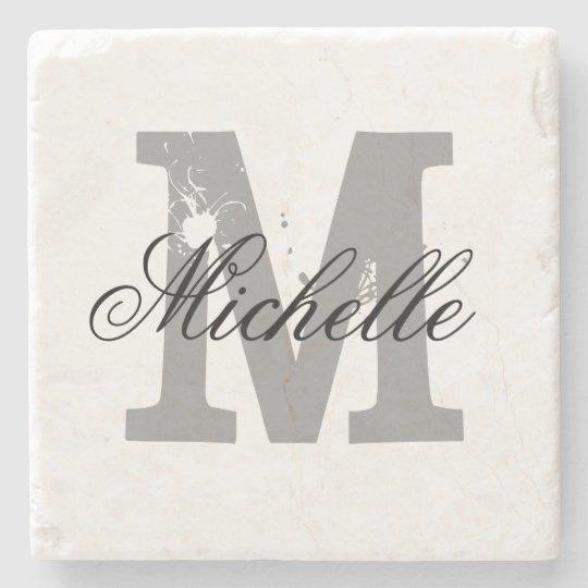 Elegant personalised monogram letter stone coaster