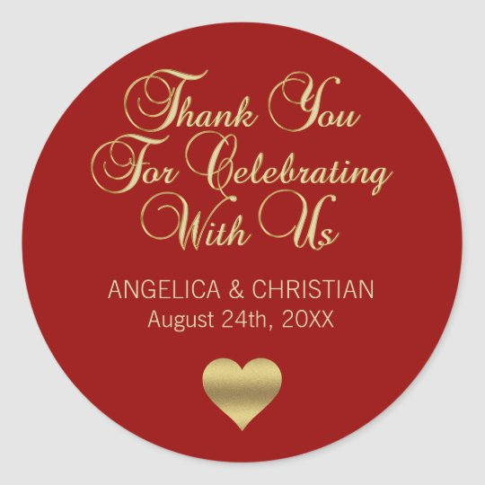 Elegant Personalised RED Gold Thank you Wedding Classic