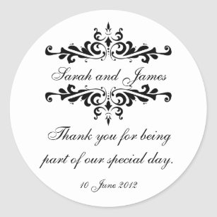 Elegant Personalised Thank You Wedding Sticker