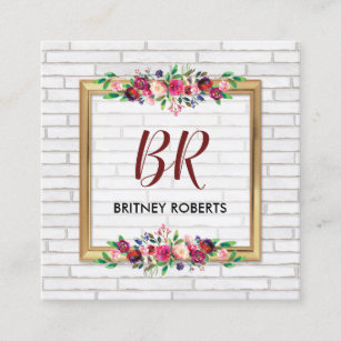 Vintage shabby floral business cards business card printing elegant personalised vintage gold autumn floral square business card reheart Choice Image