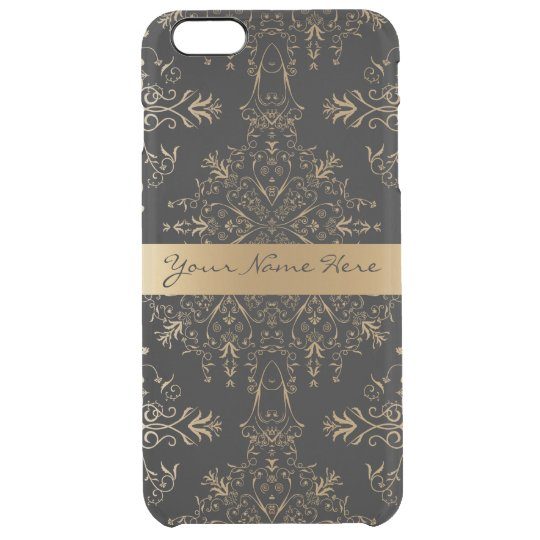 Elegant Personalised Vintage Golden Damask Clear iPhone 6