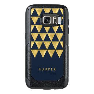 Elegant Personalize Name Blue Triangle Geometric OtterBox Samsung Galaxy S7 Case