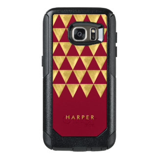 Elegant Personalize Name Burgundy Triangle OtterBox Samsung Galaxy S7 Case