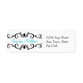 Elegant Personalized Address Labels Swirls Aqua