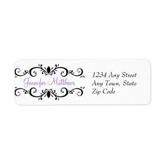 Elegant Personalized Address Labels Swirls Purple
