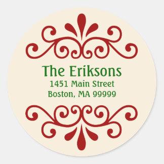 Elegant Personalized Christmas Address Labels Round Sticker
