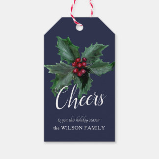 Elegant Personalized Holly Gift Tag