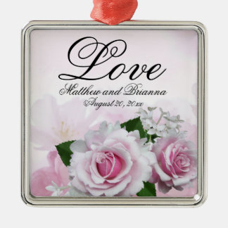 Elegant Personalized Pink Floral Love Wedding Christmas Ornament