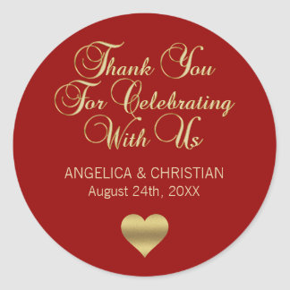 Elegant Personalized RED Gold Thank you Wedding Classic Round Sticker