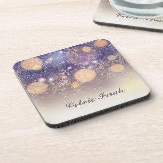 Elegant Personalized Snowflakes | Coaster